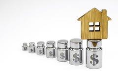 木房子由竹子制成在金属重量图与美元标志激光板刻的在白色背景 免版税库存照片