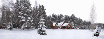 木房子的冬天 免版税库存照片