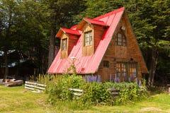 木房子阿根廷巴塔哥尼亚 库存图片