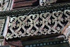 木房子 雷宾斯克镇,俄罗斯建筑学  库存照片