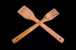 木扁平的餐具 库存照片