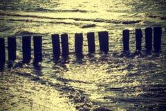 木打桩在反对太阳,葡萄酒减速火箭的instagram effec的水中 库存照片