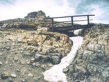 木扶手栏杆和标志在迁徙的道路在白云岩山 库存图片