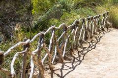 木扶手栏杆在森林里 免版税库存照片