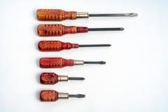 木把柄,减速火箭,葡萄酒,老螺丝刀设置了,平底锅和菲利普 免版税图库摄影