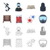 木护拦、防毒面具和其他辅助部件 在动画片,概述样式传染媒介标志的迷彩漆弹运动唯一象 图库摄影