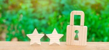 木挂锁和两个星 用户安全、安全和事务 互联网安全,抗病毒,数据保护 警报  免版税库存图片