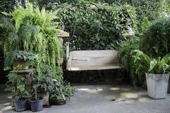 木摇摆位子在室外庭院里 免版税库存图片