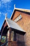 木教会在Kvikkokk,北瑞典 免版税库存照片