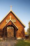 木教会在Kvikkokk,北瑞典 免版税图库摄影