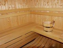 木新的蒸汽浴 免版税库存照片