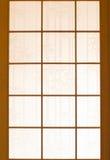 木日文报纸的视窗 免版税库存图片