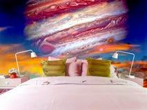 木星和日落的卧室红色眼睛 免版税库存图片
