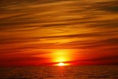 木星喜欢在密执安湖的日落 库存照片