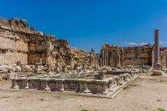 木星罗马寺庙破坏巴勒贝克Beeka黎巴嫩 免版税库存图片