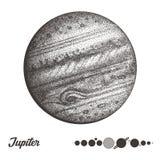 木星 行星的汇集在太阳系的 板刻样式 葡萄酒典雅的科学集合 神圣的几何,魔术 库存照片