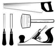 木材加工和木匠业工具箱传染媒介 短槌,粗刨,凿子,看见了 库存例证