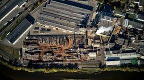 木材加工工厂顶视图 免版税库存图片
