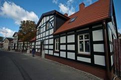 木材房子在波兰,乌斯特卡 免版税图库摄影