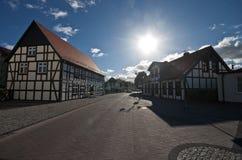 木材房子在波兰,乌斯特卡 库存照片