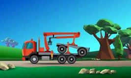 木材的起重机卡车 免版税库存照片