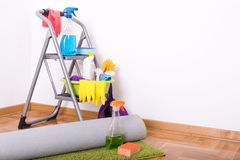 木条地板和地毯清洁 免版税库存照片