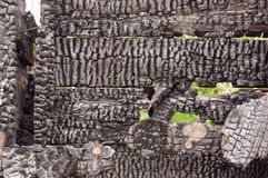 木板条房子黑被烧的墙壁与压印的纹理的 拷贝空间的背景 不动产损失的概念或 免版税库存图片