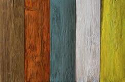 木板条色的纹理背景,被绘的木地板 免版税库存照片