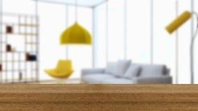 木板空的台式和迷离内部在迷离Backgro 库存图片