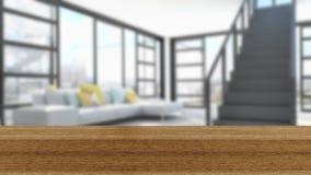 木板空的台式和迷离内部在迷离Backgro 免版税库存图片