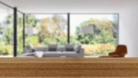 木板空的台式和迷离内部在迷离Backgro 图库摄影