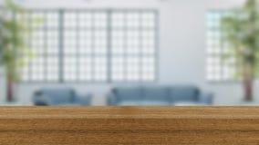 木板空的台式和迷离内部在迷离Backgro 免版税图库摄影