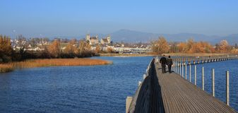 木板走道、金黄树和城堡 秋天场面在拉珀斯维尔, 库存照片