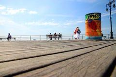木板走道兔子岛海洋 图库摄影