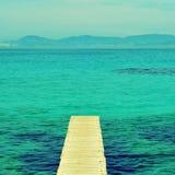木板走道在福门特拉岛,巴利阿里群岛 库存照片