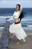 木板走道的俏丽的妇女在海滩附近 库存图片