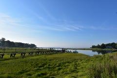 木板走道走道对Duxbury海湾在马萨诸塞 库存照片