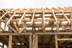木构筑新房 免版税库存照片