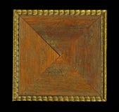 木构筑的小条四面体方形的装饰玫瑰华饰  免版税库存照片