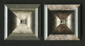木构筑的小条四面体方形的装饰玫瑰华饰  库存照片