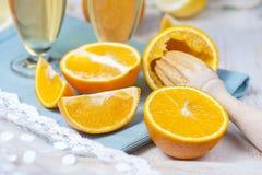 木柑橘剥削者,桔子的一半 图库摄影