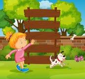 木标志和女孩在公园 库存例证
