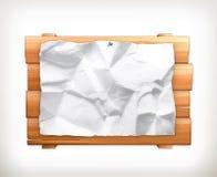 木标志和纸 免版税库存图片