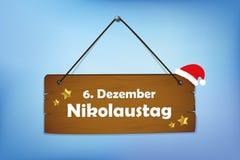 木标志12月6日圣尼古拉斯天蓝色背景 皇族释放例证