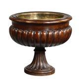 木桃花心木室内黄铜被排行的被雕刻的缸 免版税库存照片