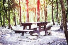 木桌在森林里 免版税图库摄影