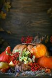 木桌由南瓜和秋叶装饰了狂放与花 秋天背景特写镜头上色常春藤叶子橙红 日愉快的感恩 库存图片