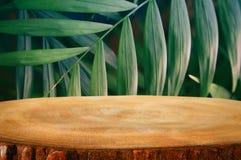 木桌的图象在前面热带绿色花卉背景中 对产品显示和介绍 库存照片