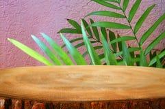 木桌的图象在前面热带绿色花卉背景中 对产品显示和介绍 免版税图库摄影