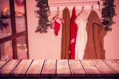 木桌的综合图象 库存图片